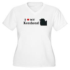 KEESHOND Womes Plus-Size V-Neck T-Shirt