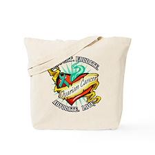 Ovarian Cancer Heart & Ribbon Tote Bag