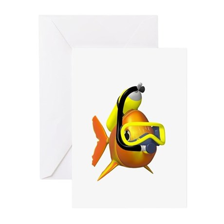 Scuba diving fish Greeting Cards (Pk of 20)