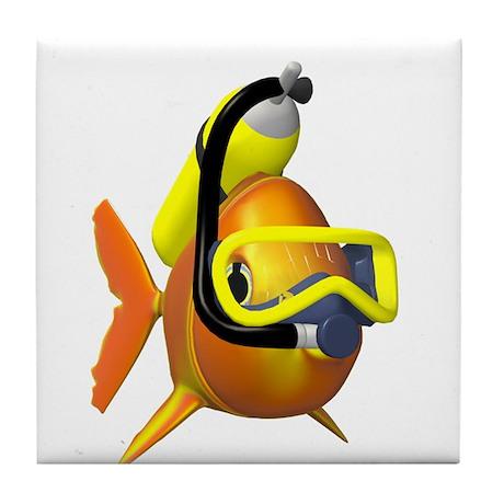 Scuba diving fish Tile Coaster