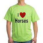 I Love Horses (Front) Green T-Shirt