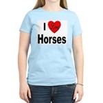 I Love Horses (Front) Women's Pink T-Shirt