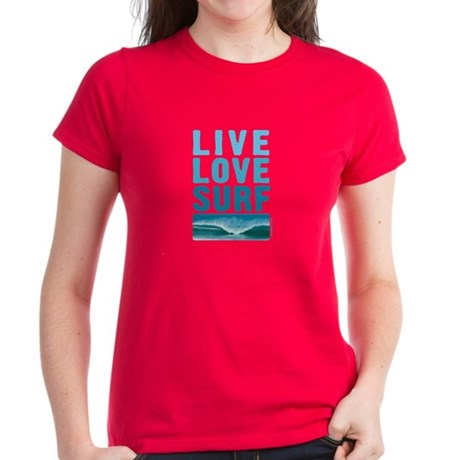 Live, Love, Surf - Women's Dark T-Shirt