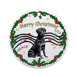 XmasMusic1-Black Labrador Ornament (Round)
