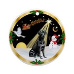 Night Flight & Black Labrador Ornament (Round)