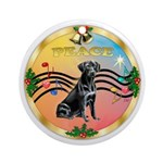 XmasMusic2-PEACE-Black Labrador Ornament (Round)