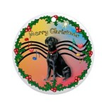 XmasMusic2-Black Labrador Ornament (Round)