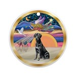 XmasStar-Black Labrador Retriever Ornament (Round)