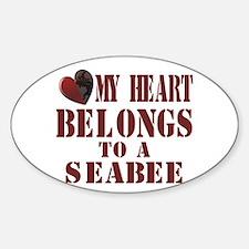 my heart belongs to Oval Decal