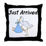 Stork and Baby Boy Throw Pillow