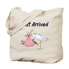 African American stork and Baby Girl Tote Bag