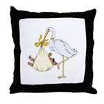 Stork with AA baby (yellow) Throw Pillow