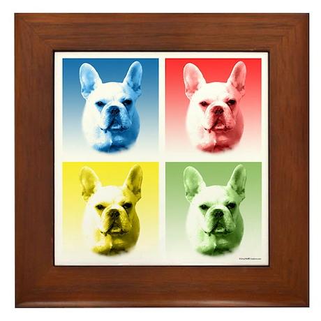 Frenchie Pop Art Framed Tile