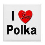 I Love Polka Tile Coaster