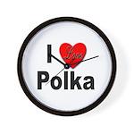 I Love Polka Wall Clock