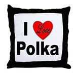 I Love Polka Throw Pillow
