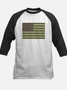 Camo American Flag Kids Baseball Jersey