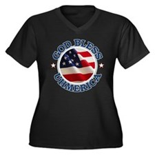 God Bless Uhmerica Women's Plus Size V-Neck Dark T