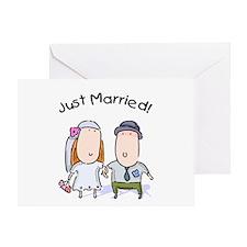 Cartoon Just Married Greeting Card
