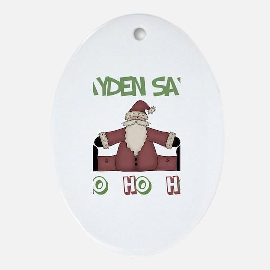 Jayden Says Ho Ho Ho Oval Ornament
