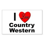 I Love Country Western Rectangle Sticker