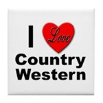 I Love Country Western Tile Coaster