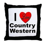 I Love Country Western Throw Pillow
