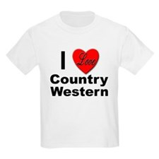 I Love Country Western (Front) Kids T-Shirt