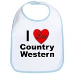 I Love Country Western Bib