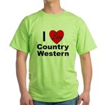 I Love Country Western Green T-Shirt