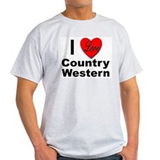 I Love Country Western (Front) Ash Grey T-Shirt