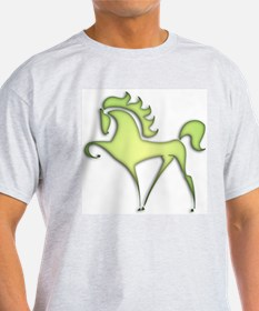Stylized Horse (lime) Ash Grey T-Shirt