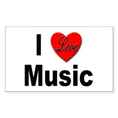 I Love Music Rectangle Decal