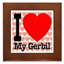 I Love My Gerbil Framed Tile