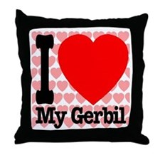 I Love My Gerbil Throw Pillow