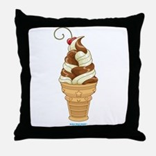 Chocolate & Vanilla Ice Cream Throw Pillow