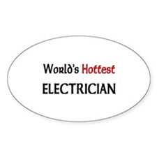 World's Hottest Electrician Oval Decal