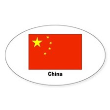China Chinese Flag Oval Sticker (10 pk)