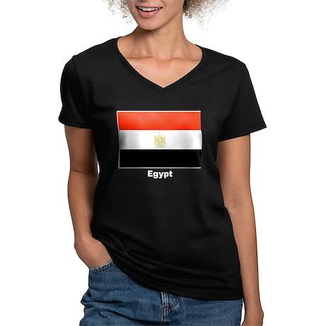 Egypt Egyptian Flag Women's V-Neck Dark T-Shirt