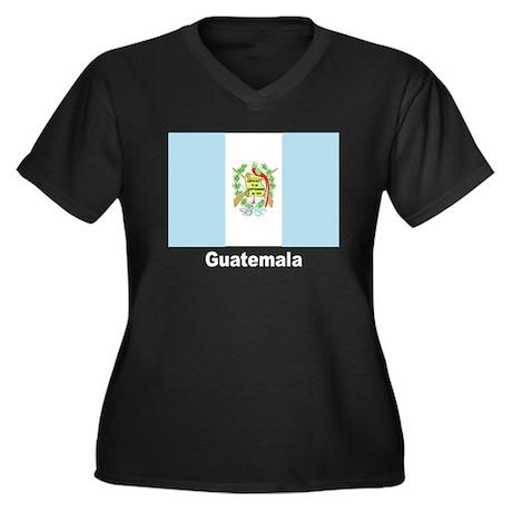 Guatemala Flag Women's Plus Size V-Neck Dark T-Shi