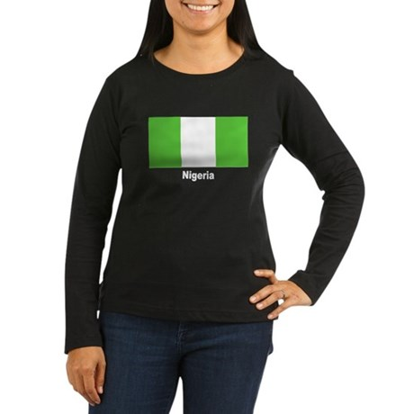 Nigeria Nigerian Flag Women's Long Sleeve Dark T-S