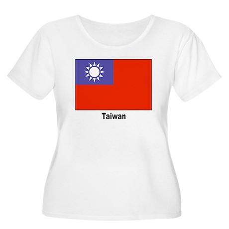 Taiwan Flag Women's Plus Size Scoop Neck T-Shirt
