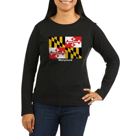 Maryland State Flag Women's Long Sleeve Dark T-Shi