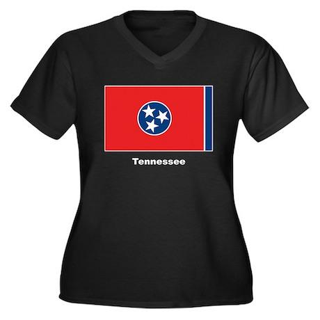 Tennessee State Flag Women's Plus Size V-Neck Dark