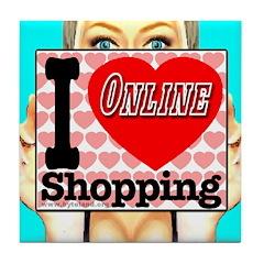 I Love Online Shopping Tile Coaster