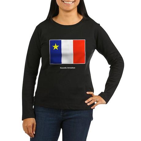 Canada Arcadian Flag Women's Long Sleeve Dark T-Sh