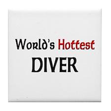 World's Hottest Diver Tile Coaster