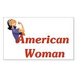 American Woman - Retro Lady Rectangle Sticker
