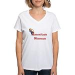 American Woman - Retro Lady Women's V-Neck T-Shirt