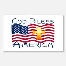 Rectangle Sticker-God Bless America!